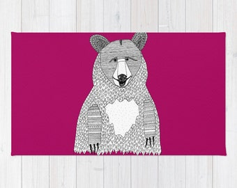 Big Bear Rug, Fuscia Rug, Bear Bath Mat, Fuscia Bath Mat, Bear Throw Rug, Fuscia Throw Rug, Fuscia Floor Mat, Bear Carpet, Kids Rug