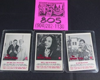 1964 Filmways Addams Family Gum cards- #20,#33,and #7
