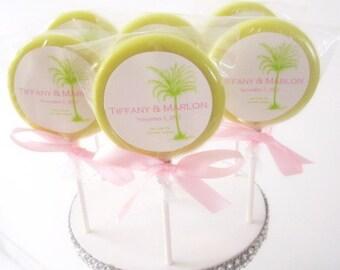 Palm Tree Theme Gourmet Lollipops (8) - Custom Label - Key West Wedding - Wedding Favors - Tropical Theme