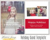 Christmas Card Template, 5x7 in Holiday Card Adobe Photoshop psd Template,  INSTANT DOWNLOAD, sku xm-3