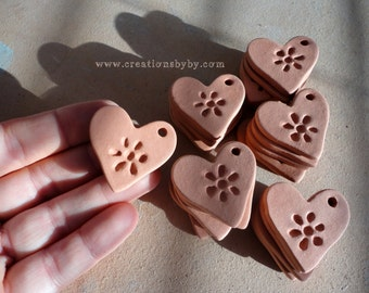 Natural Terracotta Heart Essential Oil Diffuser Textured Clay Cearmic Healing Necklace Simple Aromatherapy Pendant Stress Relief Remedy