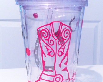Personalized Cowgirl  Tumbler Cup Glass