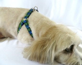 Step in Dog Harness, Blue and Green Plaid Dog Harness, Adjustable Harness, Soft Comfortable Dog Harness