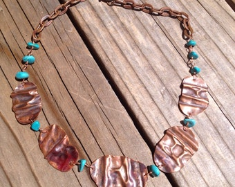 Copper and Turquoise Fold Form Necklace