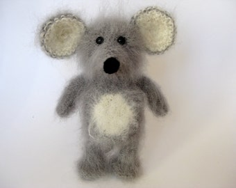 Mouse, Knitted  Mouse, Mohair Mouse, Engagement Ring Carrier, Gift under 50, Engagement Ring Bearer