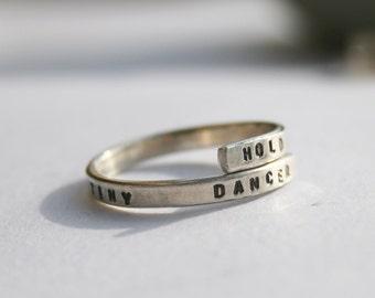 Elton John Lyric ring 'Hold me closer tiny dancer' -Sterling Silver 925 Handstamped, handmade and Adjustable.