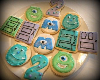 SALE-Monsters Inc Sugar Cookie Favors-Monsters Inc Party Favors-Monsters Inc Birthday-Monsters Inc Party