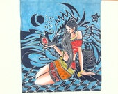 BATIK and PAINT Tapestry Wall Hanging Chinese - Maiden with Feather - Batik cloth with the woman partially painted on