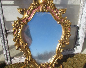 Antique Vintage Florentine Rococo Italy Italian Wood Wooden Carved Mirror Gold Gilt Gesso