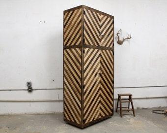Reclaimed Pallet Barn Wood Entry Closet Cabinet Mud Room Hutch Storage Cubbies Divider Organizer Arrow Navajo Geometric Pattern Chevron