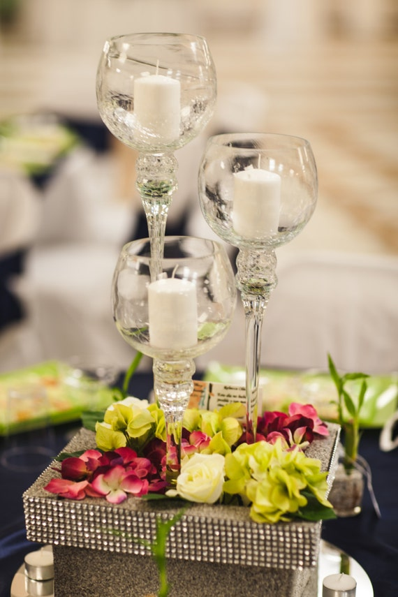 Items Similar To Tall Wine Glass Wedding Centerpiece Base Of Artificial Flowers Faux Diamond Band In Gold Or Silver On Etsy