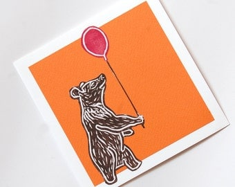 Moon Bear with Balloon Blank Greetings Card - Free Postage
