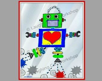 Popular items for robot nursery on etsy for Robot baby room decor