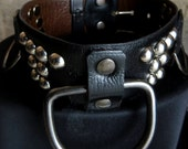 Leather studded collar with D-rings and domed rivets (162)