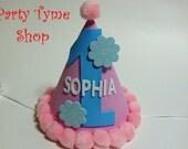 Girls First Birthday Hat . Winter Onederland . Pink Blue White . Christmas Snowflake . Twins
