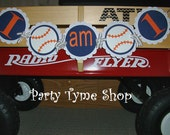Baseball Themed Sports Birthday Banner . I AM 1 One Highchair Banner . First Birthday Party Decorations in Navy, Orange and White