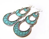 Turquoise Faux Leather Crescent Moon Trio Dangle Sterling Silver Earrings / Gift for Her