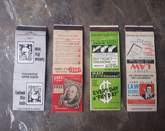 "Set of Four 1960s ""Free Offer"" Matchbook Covers"