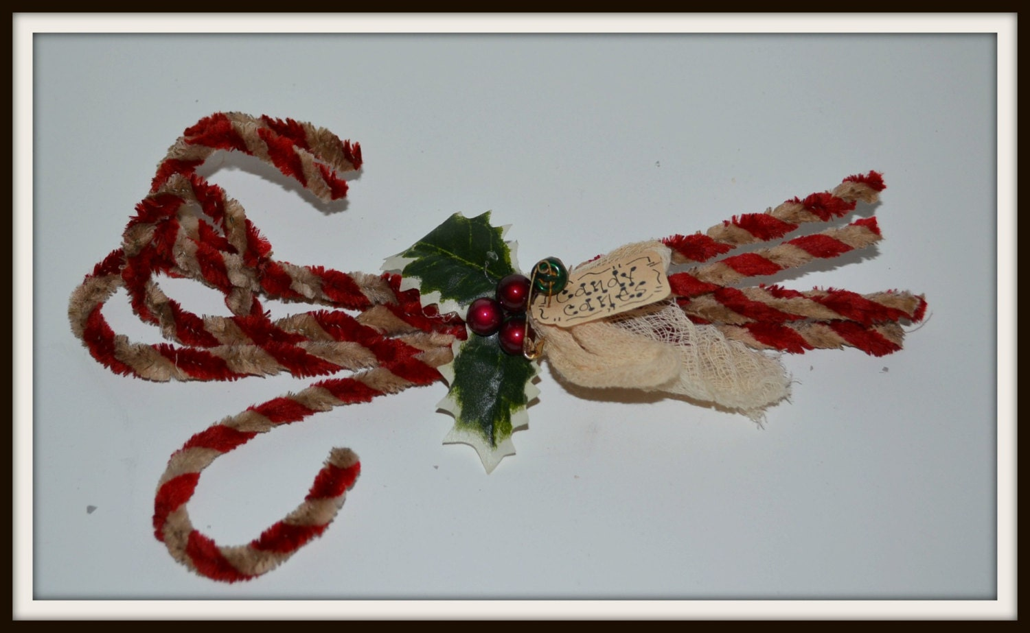 Primitive grungy candy canes, chenille candy canes, holiday candy canes, handmade candy canes