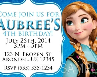 Frozen Invitations, Anna invitations OR Thank you card