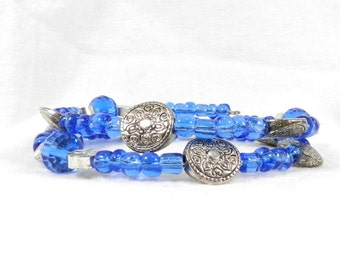 Silver and Blue, Bright Cobalt, Seed Beads, Crystal Beads, Wire Wrap Bracelet, Perfect Gift, September Birthday, Sapphire Color
