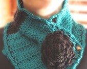 Crochet Neck Warmer with Black Flower and Vintage Buttons, Handmade