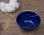 yarn bowl in cobalt blue