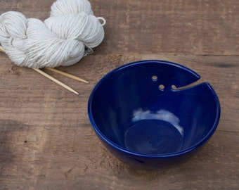 yarn bowl in cobalt blue
