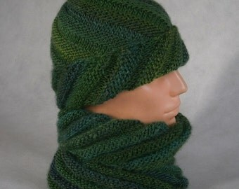 Annapurna - winter color set, Hat & Cowl. Green, turquise.