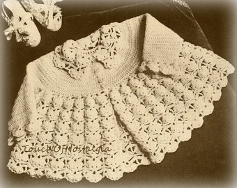 Crochet FLARED COAT  Crochet Pattern LACY- 3 Sizes: 0-3 mos/6-9 mos/12 mos / Perfect for Special Occasion