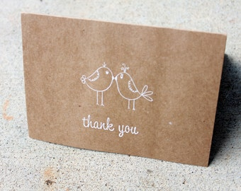 Rustic Thank You Card- set of 70, love bird Thank You Card, Thank You Cards, lovebirds Thank You note, Thank You Card, Shabby Chic Thank You