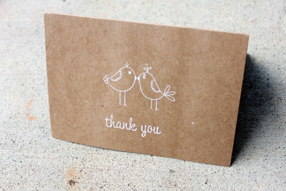 Rustic Thank You Card Set Of 40 Love Bird Thank You Card Etsy