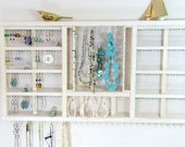 Jewelry Organizer Display Hanger Holder Whitewash Stain Handmade Large