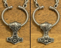 Large Reversible Stainless Steel Thor's Hammer Mjolnir Pendant On 8mm Stainless Steel Byzantine Chain Necklace with 5 Length Options