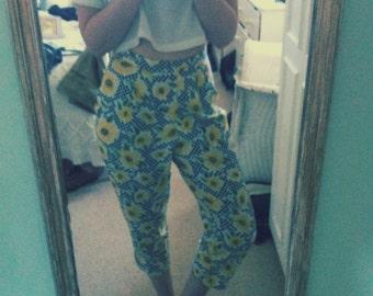 SALE 15% 1980's 1990's High Waist Straight Sunflower Checkered Print Trousers Pants Grunge