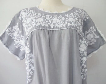Mexican Embroidered Dress Cotton Tunic In Gray