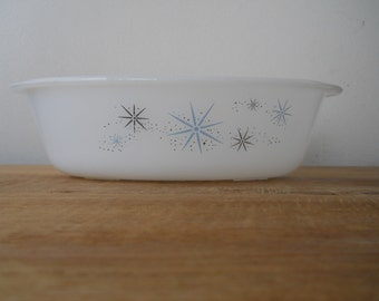 Vintage Glasbake Milk Glass Casserole with Blue and Silver Snowflakes