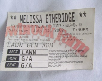 Melissa Etheridge Vintage Concert Ticket Music Festival I'm the Only One Come to My Window Meadowbrook Gilford NH