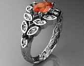 Art Masters Nature Inspired 14K White Gold 1.0 Ct Oval Orange Sapphire Diamond Leaf and Vine Solitaire Ring R267-14KWGDOS