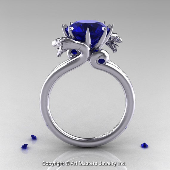 scandinavian 14k white gold 3 0 ct blue sapphire by
