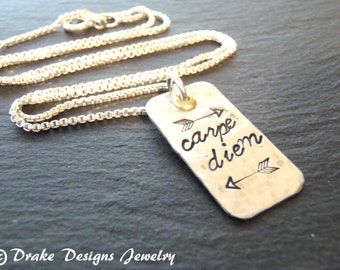 Sterling silver carpe diem necklace seize the day graduation inspirational quote jewelry