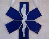 EMS Star of Life Stained Glass Suncatcher - Cross of Life - Firefighter Gift - Paramedic Gift - First Responder - EMT Gift - EMT Ornament
