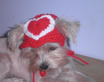 Crocheted Valentine Dog Hat Valentines Day Cat Hats Red Heart Cat Hat