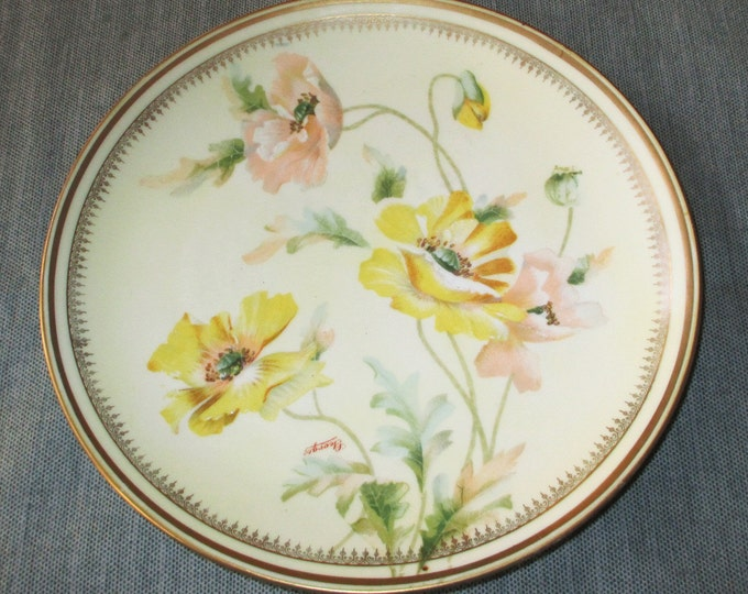 O & E G Royal Austria Hand-Painted Porcelain Plate Yellow Pink Icelandic Poppies, Oscar and Edgar Gutherz, ca. 1890s