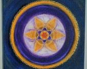 Golden Star Mandala - Original Artwork (OOAK) - Hand painted Mandala  - Feng Shui Art