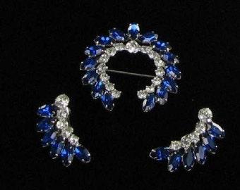 Vintage Royal Blue Rhinestone Set - Signed B. David Brooch Earrings