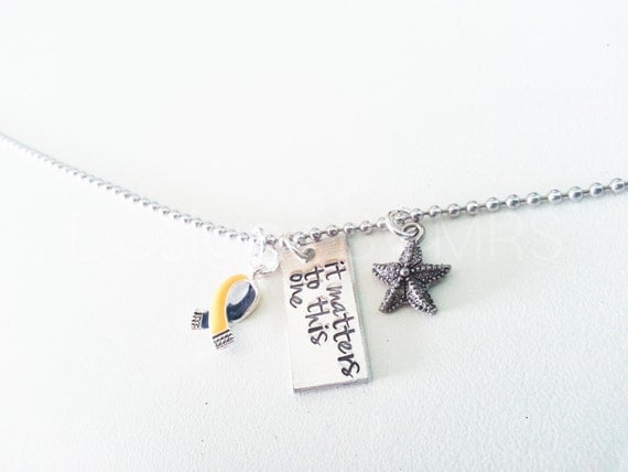 it matters to this one - Hand Stamped Down Syndrome Awareness Necklace with Awareness Ribbon & Starfish Charms