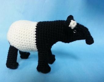 Malayan Tapir Realistic Amigurumi Crochet Pattern PDF