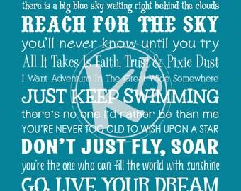 Disney Inspirational Movie Quotes Subway Art, Digital Print