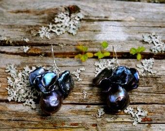 the black pearl earrings, black baroque pearl black keshi pearl dangle earrings, a serious pair of black pearl earrings